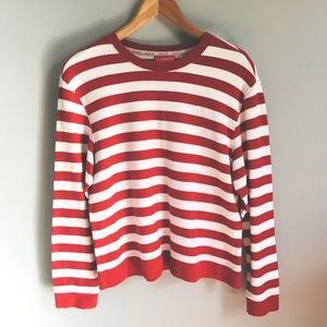 Liz & Co Red and White Striped Long Sleeve